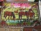"""VINTAGE  Velvet  Western Tapestry Horse  Foal Wall Hanging RUG 72"""" X 48"""" CLEAN"""