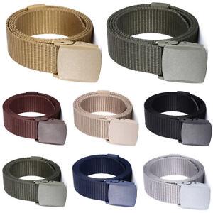 Men Classic Plain Military Canvas Waist Jeans Belts Automatic Buckle Nylon Belts