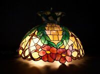 Vintage Stained Glass Ceiling Lamp Floral Design