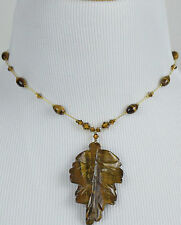 DABBY REID NEW Tiger's Eye 24 K Gold Plated Pendant Necklace PMN8183G Y27