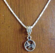 collier 43 cm avec pendentif chien scottish terrier dans rond diamètre 14 mm