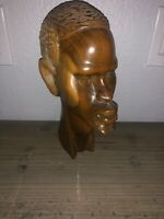 "Africa African Head Bust Solid Wood Hand Carved Man Figure Sculpture 11"" Vintage"