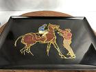 Vintage Mid Century Modern Couroc of Monterey Jockey Racehorse Tray  WH 17