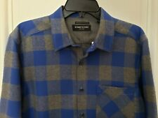 New Men's Kenneth Cole Cotton Flannel Long Sleeve Shirt Medium Blue/Gray Plaid