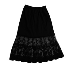 Womens Lace Slip Skirt Chiffon Extender Knee Length Underskirt Petticoat  Black 166a909a4ed6