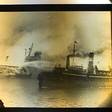 Vtg Magic Lantern Glass Slide Photo Fireboat Edwin Pilsbury Charlestown