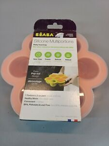 BEABA Silicone Multiportions Baby Food Tray Oven Safe Made in Italy NEON 7 x 3oz