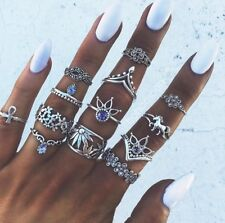 13pc Set of antique silver colour rings with little gems gypsy/Boho sizes I-R