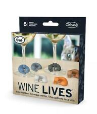 Wine Markers: WINE LIVES Kitty Cat Drink Markers - Set of 6 (Multi-Colored)