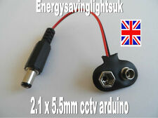 2.1 Male Dc Plug to 9V pp3  Battery Clip Snap Accessories For Arduino cctv