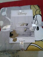 DISNEY MINNIE MOUSE TWIN QUILT AND SHAM #179 Grey/Gold 🎀🎄