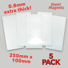 5 pack x 250mm x 100mm WHITE Magnetic Labels | HQ Gloss | Shelving Label Magnet