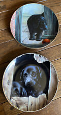 2 Danbury Mint John Silver Playful Puppies Collectible Plates Playmate Required