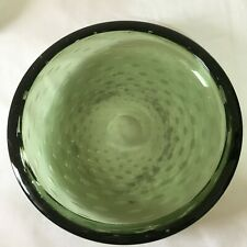 Whitefriars Very large Green Controlled Bubbles Glass Bowl