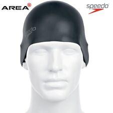 Speedo Plain MOULDED Silicone Swim Cap Unisex Black