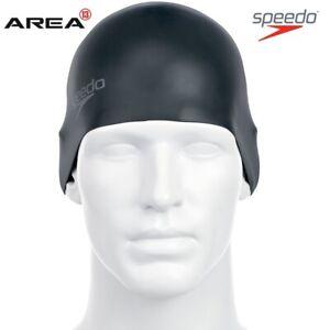 Speedo Plain Moulded Silicone Swim Cap - Black , Silicon Swimming Cap, Swim Caps