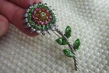 AUSTRIAN CRYSTALS SUNFLOWER DAISY FLOWER GREEN PINK BROOCH PIN