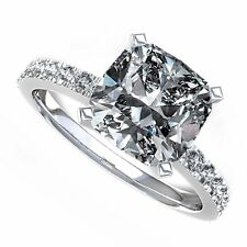 18kt G/H 2.23ct Cushion Cut Pavé Engagement Ring