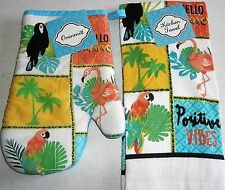 TROPICAL Towel and Oven Mitt Set  HELLO SUMMER