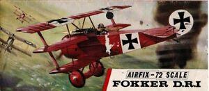 1/72 VINTAGE 1967 AIRFIX No.88; FOKKER DR1 Triplane 1917 in Red Plastic