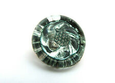 New listing Antique Vintage Pressed Glass Aqua Blue Green Floral Flower Swirls Sewing Button