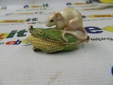 "Rucinni ""Swarovski"" Trinket Box -Mouse On Corn- Rb1705Pk"