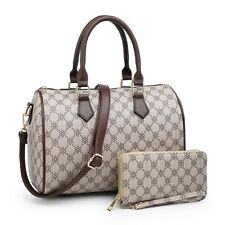 Women Satchel Handbag Purse Faux Leather Shoulder Tote Bag 2 Pieces Set