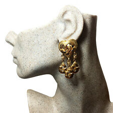 Authentic Chanel 1997 Vintage CC Heart Dangle Clip Earrings ~ My Poupette RS