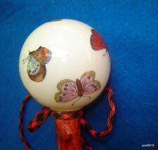 lovely PORCELAIN BUTTERFLY spiky red wild CHERRY CANE/shillelagh/walking-stick