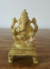 Indian Antique Brass Statue Hindu God Elephant Ganesh Ganapati on the Base