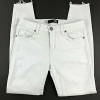 Kut From the Kloth Womens Jeans Size 4 White Donna Ankle Skinny Raw Hem