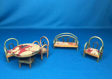 Vtg Wood Bamboo Dollhouse Miniature Table Set Japan Furniture + accessories LOT