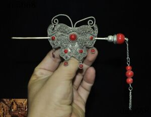Chinese Tibetan silver Inlay red gem butterfly Belle Headwear Hairpin Hair clip