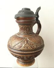 Raeren Type Jug Flagon Pewter Lid Raised Decoration 19th Century 23 Cm high.