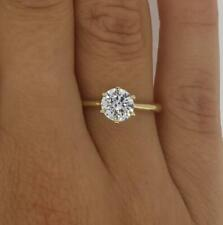 1 Ct Classic 6 Prong Round Cut Diamond Engagement Ring I1 H Yellow Gold 18k