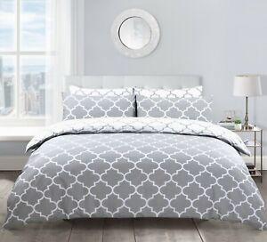 Grey White Lattice Trellis Printed Duvet Cover and Pillowcase Bedding Set