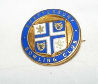 VINTAGE ENAMEL SHAFTESBURY BOWLING CLUB BROOCH / BADGE / PIN