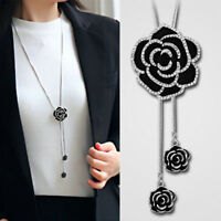 Fashion Black Rose Flower Long Necklace Crystal Sweater Chain Women Jewelry Gift