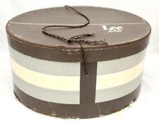 "Lee Hatbox Mens Oval Brown Taupe Vintage Early 1940s 14"" x 7"" Hat Storage Displ"