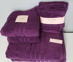Kate Spade NY 8 pc SET Bathroom Towel PURPLE 100% Cotton 2 Bath 2 Hand 4 Wash