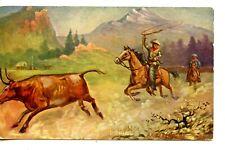 Cowboy Horseback-Roping Cattle-R A Davenport Signed Western Art-Vintage Postcard