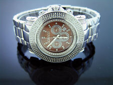 New Don & Co 3.50CT 3 rows large Diamonds 50mm Stainless steel Watch brown face