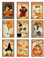 Vintage Image Retro Children Halloween Labels Tags Waterslide Decals Hal112