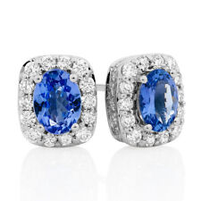 Tanzanite Halo Stud Earrings in 18k White Gold Plating Silver & Cz Womens tops