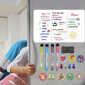 A3 MAGNETIC WHITEBOARD FRIDGE DRY WIPE LARGE PLANNER 4 PENS 12 MAGNETS RUBBER