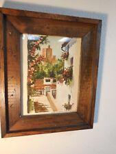 #2 Vtg Nicolas Bermudez Original Watercolor Painting Old Spanish Street Scene