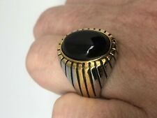 Vintage Black Onyx Mens Ring Stone Golden Stainless Steel Size 9