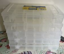 5 X Used Compartment Storage Boxes Clear Plastic 18 Slots Beads Craft