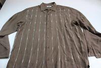 MINT Bobby Chan Brown 55 Silk 45 Bamboo LONG SLEEVE DRESS SHIRT XL 17.5 x 36/37
