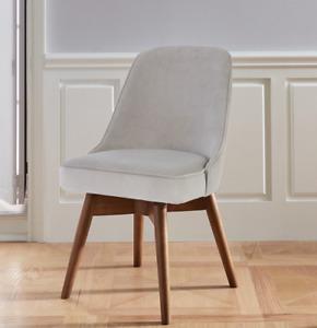John Lewis Mid Century Swivel Office Chair - Dove Grey Velvet - RRP: £419